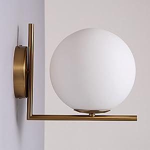 JiaYouJia Applique Murale Lampe de Mur LED Globe Boule de Verre Applique Murale Interieur Décoration Salon Chambre Cuisine Couloir Balcon Bureau Moderne