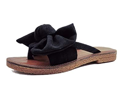 ed4ff911bb0b Syktkmx Womens Slides Flip Flops Cute Thong Strappy Slip on Bowknot Flat  Sandals