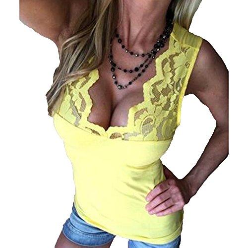 Juleya D't Manches Dames Base Slim Tops pour Tops T Chemises Casual Blouse V Dentelle Chemise De Dentelle Clubwear Sexy Chemisier Cou Jaune Femmes sans Fit qq4wCdrz