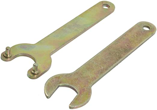 Brass Tone Metal Single Open Ended Spanner Wrench 2 Pcs