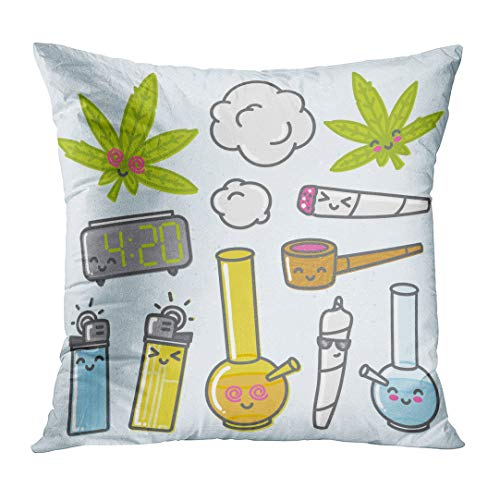 VANMI Throw Pillow Cover Green Bong Marijuana Kawaii Cartoon