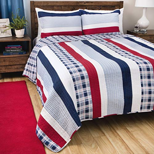 3 Piece Madras Blue Red White Striped Quilt Full Queen Set, Vertical Striped Bedding Rugby Pattern Sports Themed Nautical Design Plaid Checkered Patriotic Patriot American Theme Beach Cottage Cotton