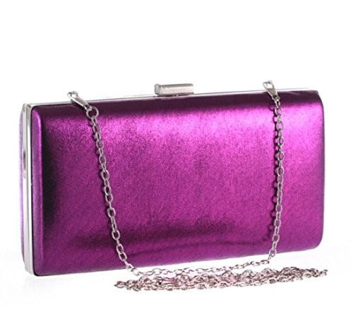 Embragues Cajas Hombro De Cadenas Purple Bolsos Conchas Bolsos Pequeas Duras Cuadrados WLFHM RBp7qx