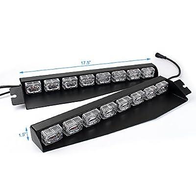 48LED 48W LED Lightbar Visor Light Windshield Emergency Hazard Warning Strobe Beacon Split Mount Deck Dash Lamp (Red/White/Red/White): Automotive