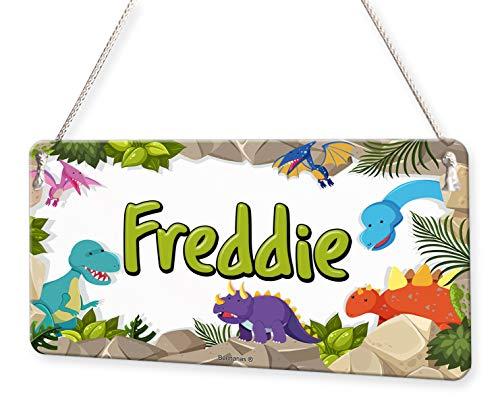 Happy Dinosaur Border Personalised Childs Bedroom Door Sign Name ()