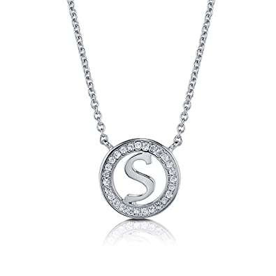 c212b02b9eede Amazon.com  Rhodium Plated Sterling Silver Cubic Zirconia CZ Initial Letter   S  Pendant Necklace 17
