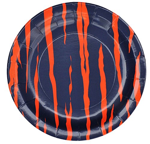 Auburn Paper - Havercamp Dinner Plates, Navy and Orange Auburn Tiger Stripe, 9-inch Round Plates, 8-pack, Team Colors Party Collection