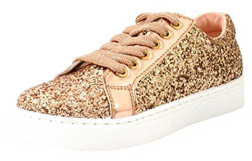 Chaussures Métalliques Paillettes Rose CRAZY K92 Mode Lacets Plates SHU à Baskets Gold Femmes Marche t7zZnqEw