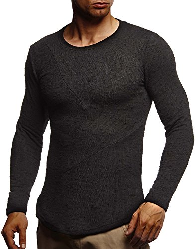 Leif Nelson Herren Pullover Rundhals-Ausschnitt Schwarzer Männer Longsleeve dünner Pulli Sweatshirt Langarmshirt Crew Neck Jungen Hoodie T-Shirt Langarm Oversize LN8188N