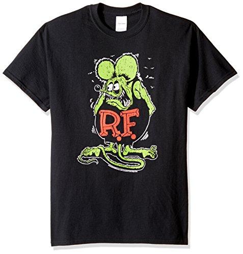 T-Line Men's Ratfink Distressed Graphic T-Shirt, Black, Large