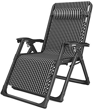 Bseack Lounge stoel, met metalen gesp gemakkelijk te vouwen 160° Flat Design Huishoudelijke Lunch Break Stoel Oudere Lounge Stoel Luie Vouwstoel