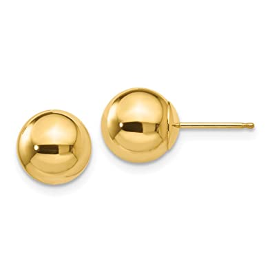 346e58375 Amazon.com: 14k Yellow Gold 8mm Ball Post Stud Earrings Button Fine Jewelry  Gifts For Women For Her: Jewelry