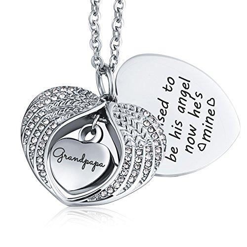 KnSam Urn Necklace for Women Men Heart Wings Grandpapa Ash Cremation Memorial Pendant Silver ()