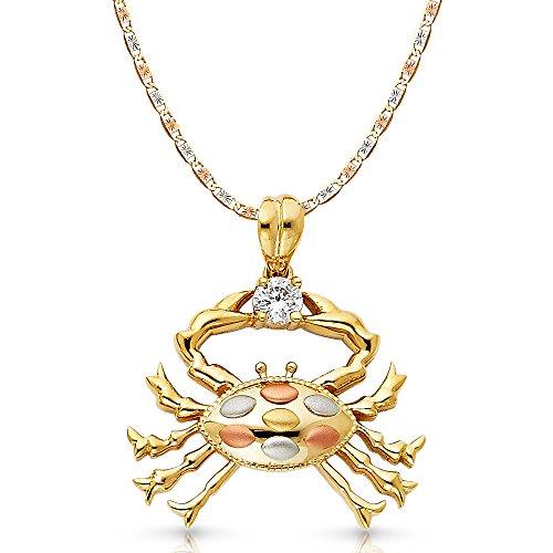 Ioka Jewelry - 14K Tri Color Gold Cubic Zirconia CZ Crab Charm Pendant with 3.3mm Valentino Star Diamond Cut Chain Necklace - 24