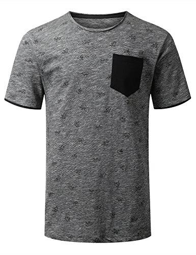 Stripe Raw Edge - URBANCREWS Mens Hipster Hip Hop Raw Edge Collar Pocket T-Shirt CHARCOALBLK, S