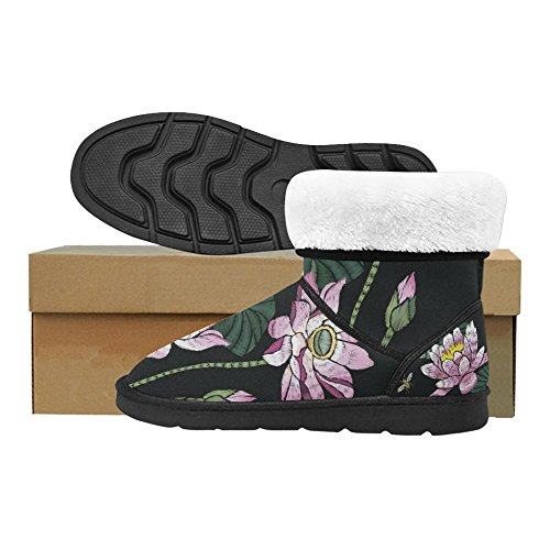 D-Story Fashion Womens Shoes Skull Flower High Top Womens Snow Boots Color2 gwjOqz