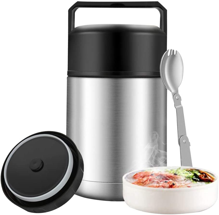 Food Thermos for Adults,27oz Leak Proof Soup Thermos with Spoon & Handle,Dual Wall Vacuum Insulated Food Jar for Hot Food,Stainless Steel Thermal Bento Lunch Box,Food Flask for School Office (Silver)