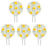 HERO-LED SG4-6T-DW Side Pin G4 LED Disc Halogen Replacement Bulb, 1.2W, 10-15W Equal, Daylight White 5000K, 5-Pack(Not Dimmable)