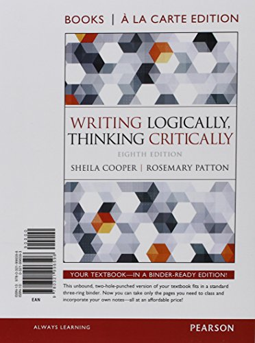 Writing Logically Thinking Critically Books a la Carte Plus MyLab Writing    Access Card Package (8th Edition)