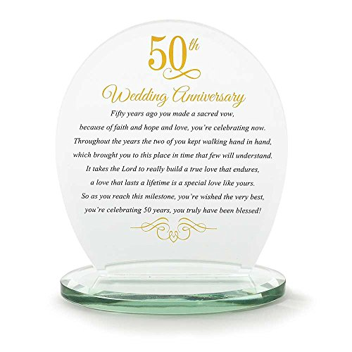 50th Wedding Anniversary Yellow 6 x 6.5 Glass Table Top Sign ()