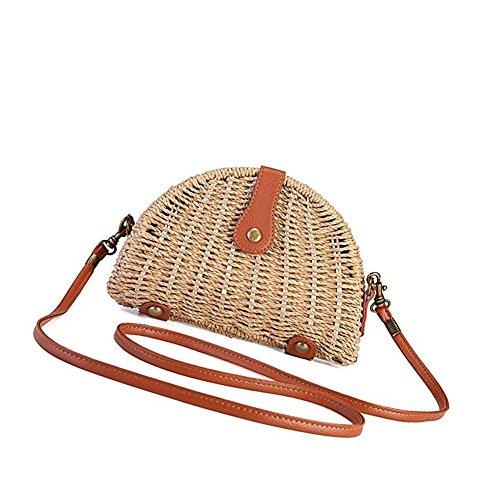 sac de de à femmes demi tressé les tout sac Sac bandoulière de la voyage sac lune sac tout plage main en paille pour tissé fourre à fourre Clair main bambou Marron paille de bandoulière Add41wRgq
