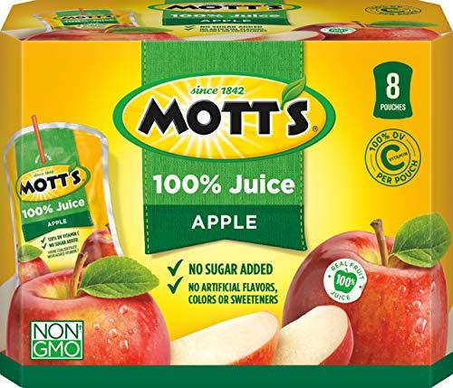 Mott's 100% Apple Juice, 6.75 Fluid Ounce Pouch, 8 Count (Pack of 4)