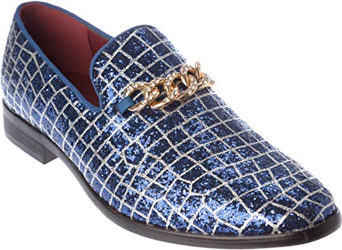 - sparko20 Mens Slip-On Fashion-Loafer Sparkling-Glitter Royal-Blue Dress-Shoes Size 11