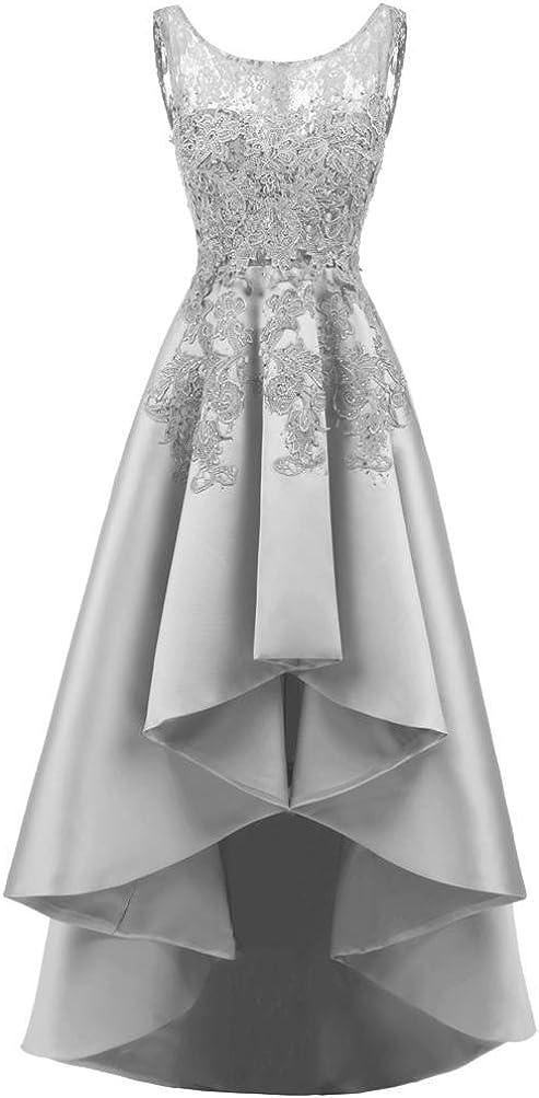 Elegante Merletto delle Donne Indietro Lungo Breve Anteriore dei Vestiti da Sera Girocollo Senza Maniche Abiti da Damigella dOnore pi/ù Colori