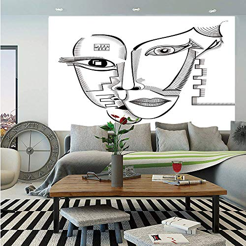 (SoSung Surrealistic Removable Wall Mural,Modern Cubism Style Abstract Interlace Human Woman Faces Artistic Illustration,Self-Adhesive Large Wallpaper for Home Decor 66x96 inches,Grey)