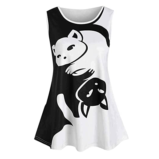 3e300a74d Rockia Women Tank Top Cat Pattern Print Vest Round Neck Shirt Casual T-Shirt  Sleeveless Summer Plus Size Tee at Amazon Women's Clothing store: