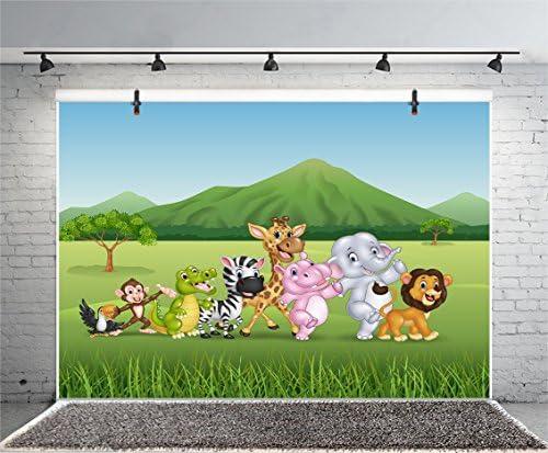 8x6FT Photography Background Cartoon Birthday Backdrop Childrens Room Wallpaper Zoo Zebra Elephant Lion Dragon Monkey Grassland Mountain Baby Shower Photo Portrait Vinyl Studio Video Prop
