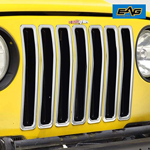 - EAG TJ Grille Insert 7 Pieces Front ABS Trim Open Round Hole Fit for 97-06 Jeep Wranngler TJ
