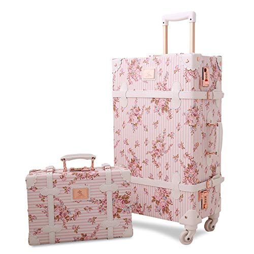 Vintage Luggage Set, Unitravel Retro Trolley Trunk Women Cute Suitcase with Train Case(Floral Pink)