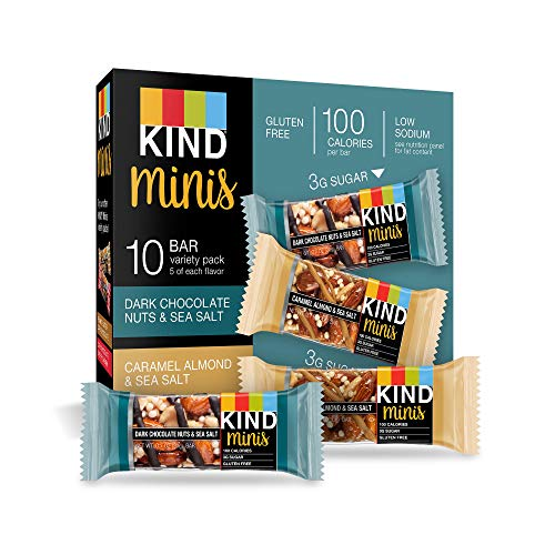 KIND Bar Mini's, Dark Chocolate Nuts & Sea Salt/Caramel Almond & Sea Salt, Gluten Free, 100 Calories, Low Sugar, 60 Count