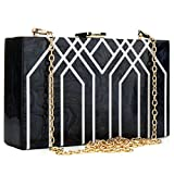 Evening Handbag Box Acrylic Clutch Stripes Shoulder Bag for Party (Black)