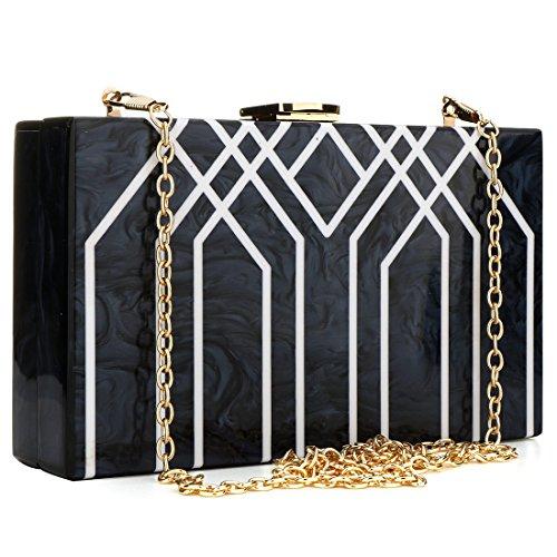 Evening Handbag Box Acrylic Clutch Stripes Shoulder Bag for Party (Black) by KNUS (Image #7)