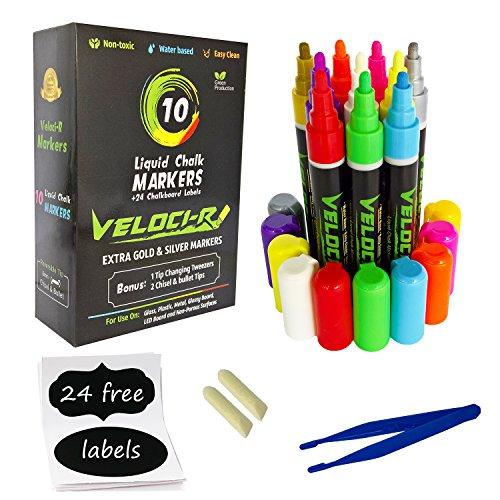 Liquid Chalk Markers -10 Pack Neon Color pens W...