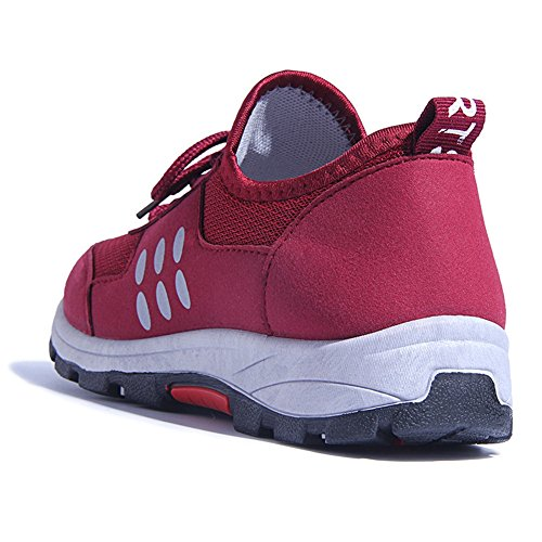 CYBLING Lightweight Hiking Walking Shoes For Women Lace-up Casual Flats Fashion Sneakers Soft Sole Red vRIZdwb2