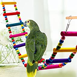 Colorful Ladder Bird Toy, Rusee 12-Step Flexible Ladders Wooden Rainbow Bridge Swings for Parrots Pet Trainning