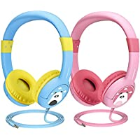 Mpow (2-Pack) Kids Headphones with 85dB Volume Limited Hearing Protection & Music Sharing Function, Kids Friendly Safe Food Grade Material, Tangle-Free Cord, Wired Headphones for Children Toddler Baby