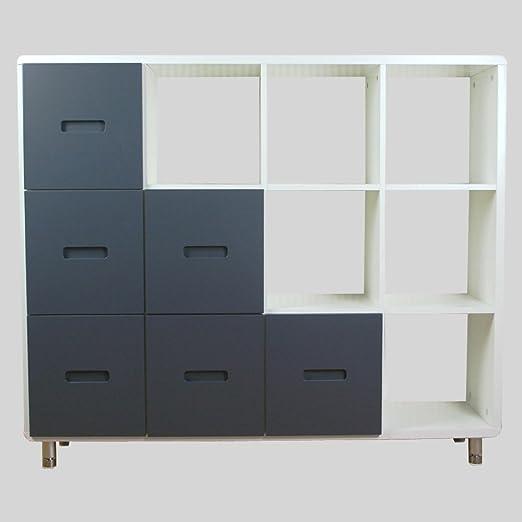 Homestyle4u estantería cómoda azul/gris y blanco con puerta corredera libréria cajones: Amazon.es: Hogar