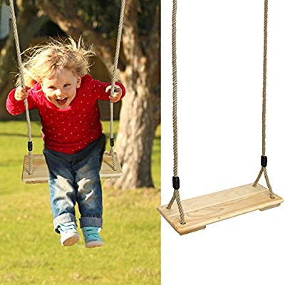 PELLOR Wood Rope Tree Swing Seat Set for Children Indoor and Outdoor Play: Garden & Outdoor
