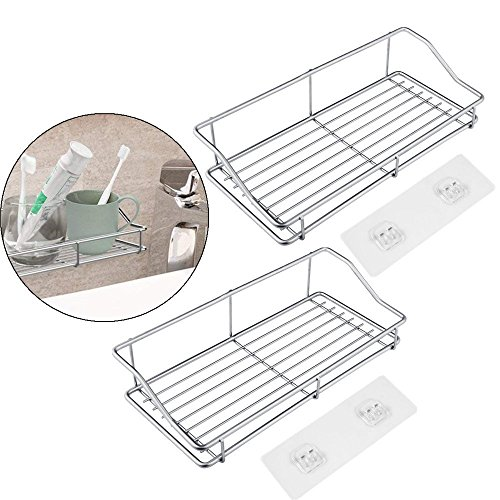 Bathroom Shelf Organizer, Sttech1 Stainless Steel Storage Kitchen Bathroom Rack Bathroom Shelves with Traceless Adhesive No Drilling (Silver 2pcs) by Sttech1-Storage