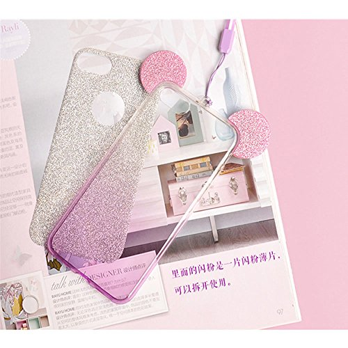 Silicone Fairy Ultra Flessibile per Trasparente Morbida Sottile 5 Custodia SE Cover Bling 5S per Progettare Fata Case Argento 5S Lusso Ear Sparkle Orecchio Glitter Creative iPhone Sycode Pattern Argento Nero iPhone Brillante 5 qEfSFREw