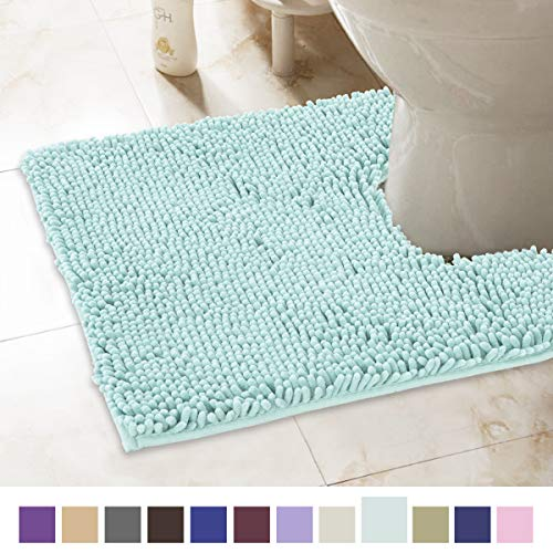 ITSOFT Non-Slip Shaggy Chenille Toilet Contour Bathroom Rug with Water Absorbent, Machine Washable, 21 x 24 Inch U-Shaped Spa Blue