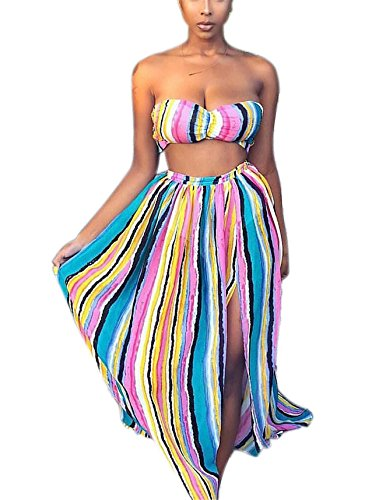 (Women's Girls Two Pieces Outfits Rainbow Stripe Print Wrapped Crop Tank Top Shirt + Irregular Swing Skirt Set Party Club Boho Dress Blue XL)