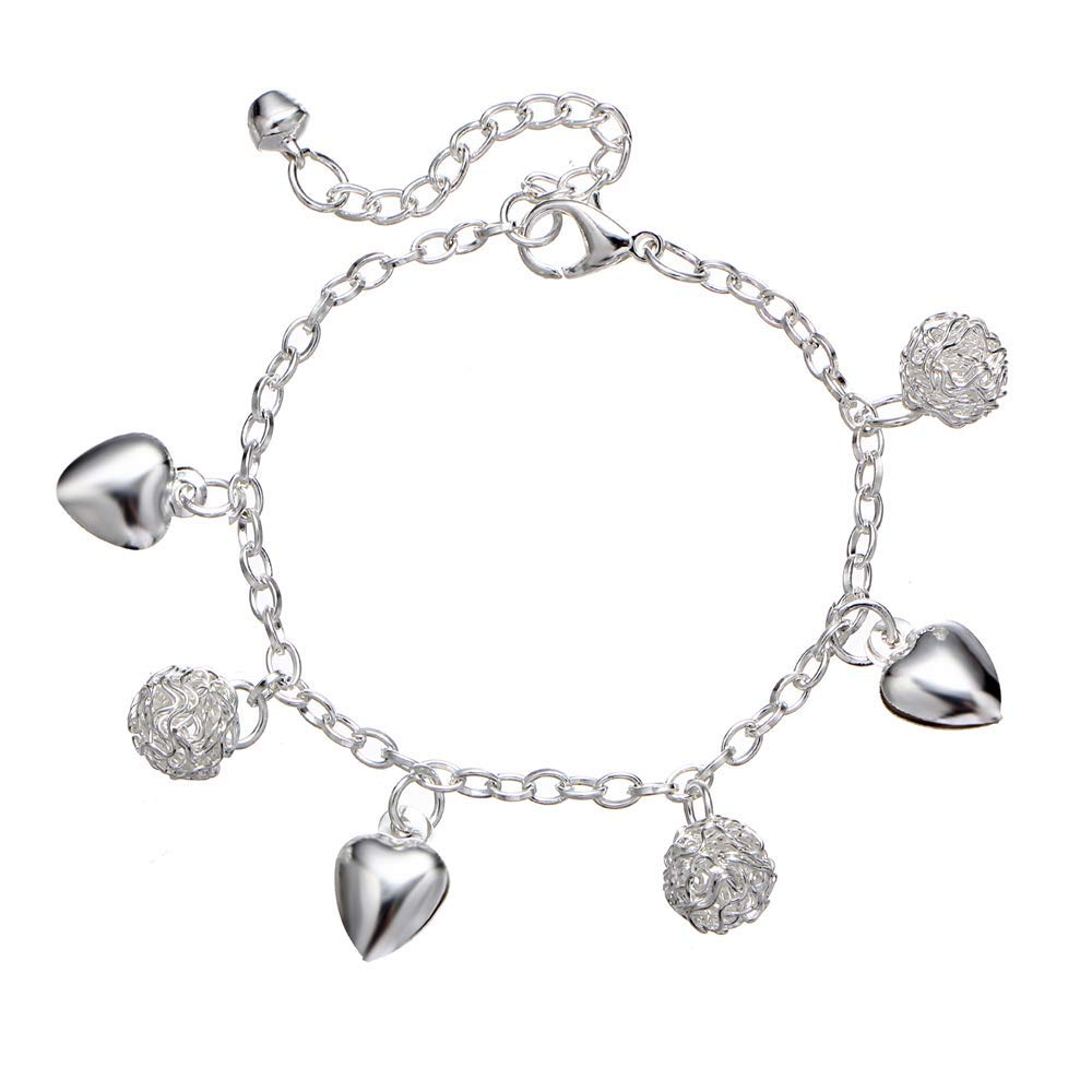 Onefeart White Gold Plated Anklet for Women Girls Ladies Style Love Heart Shape 24.5CM Silver