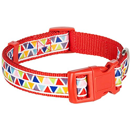 "Blueberry Pet Collars for Dogs,  Neck 14.5""-20"", Medium,  Basic Dog Collar with Vibrant Triangle Pattern, Matching Leash Available Separately"
