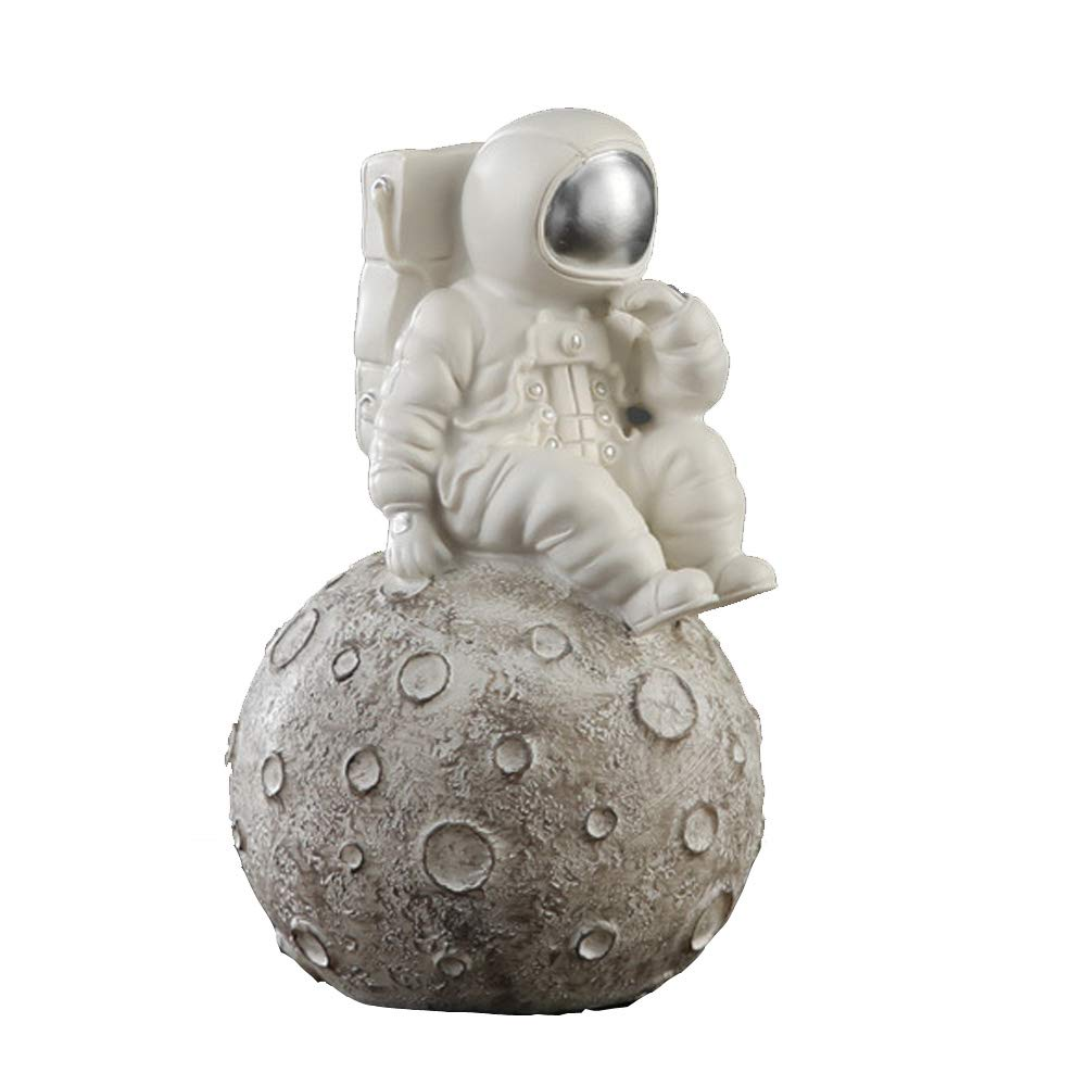 HenryDong Spaceman Astronaut Aquarium Ornament, Resin Star Stone Rock Fish Tank Decoration, Durable Safe Non-Toxic Retro Sinking Reptiles Aquarium Decor, White or Gold by HenryDong
