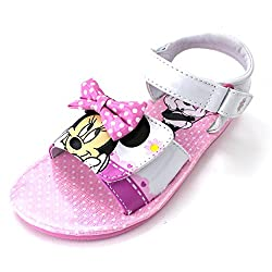 Minnie Mouse Girls White Sandals Shoes (10 M US Toddler)